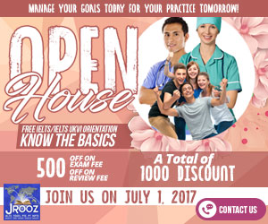 JROOZ FREE IELTS/IELTS UKVI Open House Promo  Join us on July 1, 2017  Know the basics of IELTS and IELTS UKVI  GET 1000 OFF  Manage Your Goals Today For Your Practice Tomorrow!