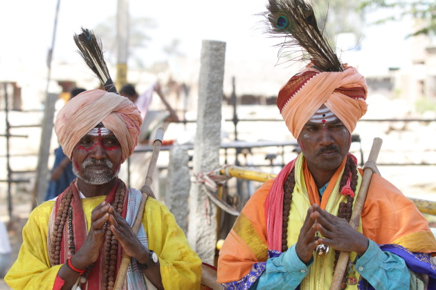 Colorfully decked magicians from the streets of Hampi, Karnataka
