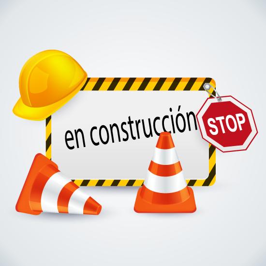 Cartel, conos y señales de En construcción - vector