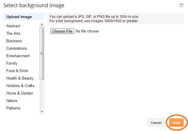 how to upload background image on blogspot