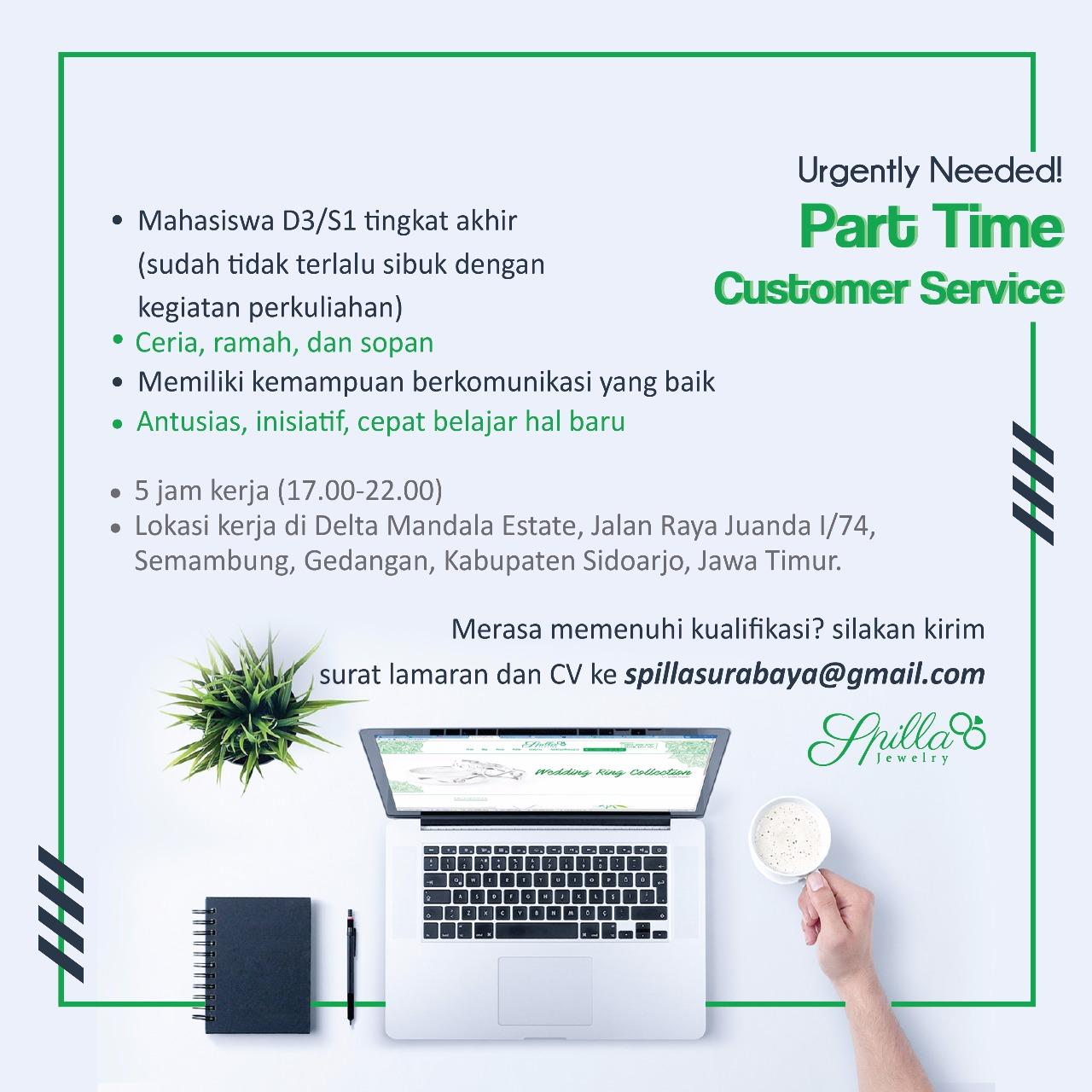Lowongan Part Time Customer Service Di Spilla Jewelry Surabaya Portal Info Lowongan Kerja Surabaya Jawa Timur 2020