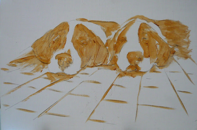 work-in-progress photo of two sleeping puppies painting