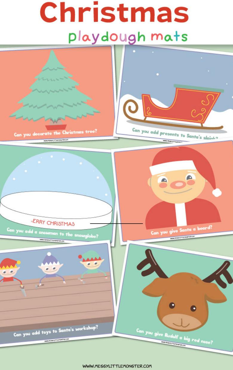 Christmas playdough mats. Fun Christmas playdough activities for toddlers and preschoolers.