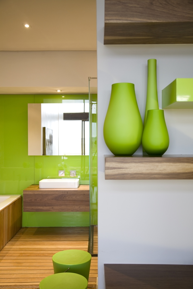 Green furniture in the modern bedroom