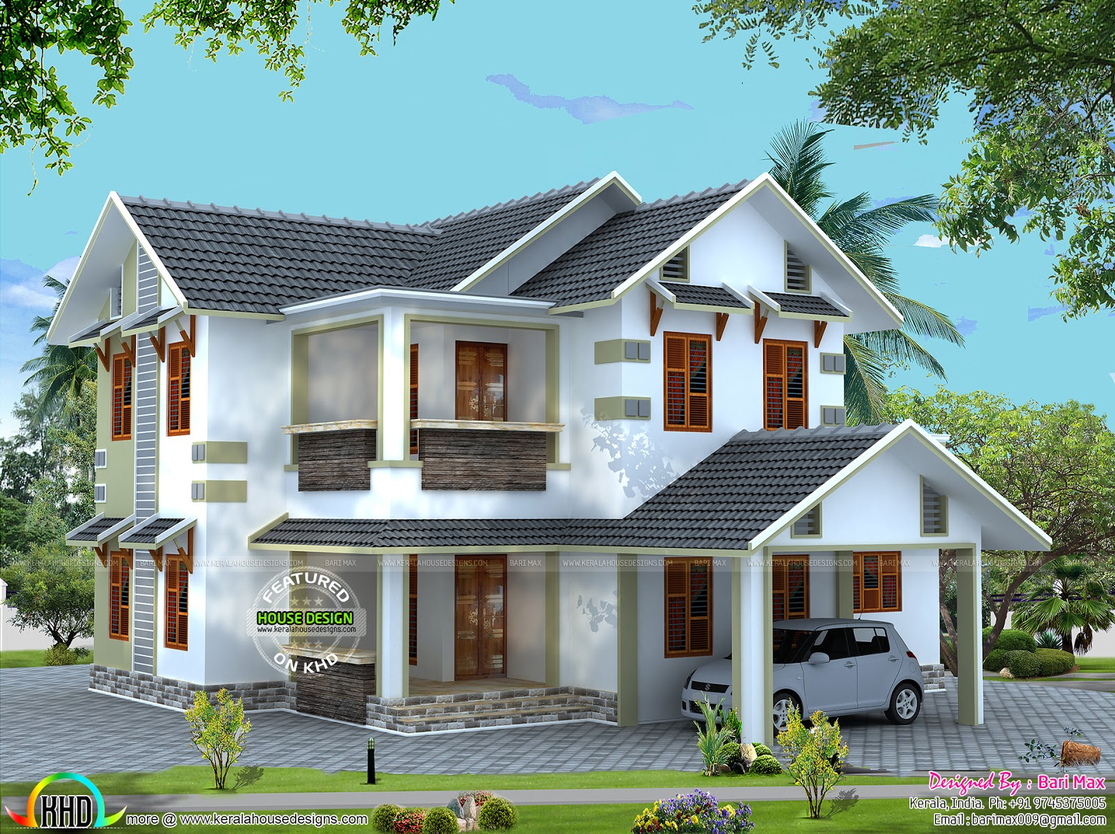 Vastu compliant sloping roof house kerala home design for Sloped roof house plans in india