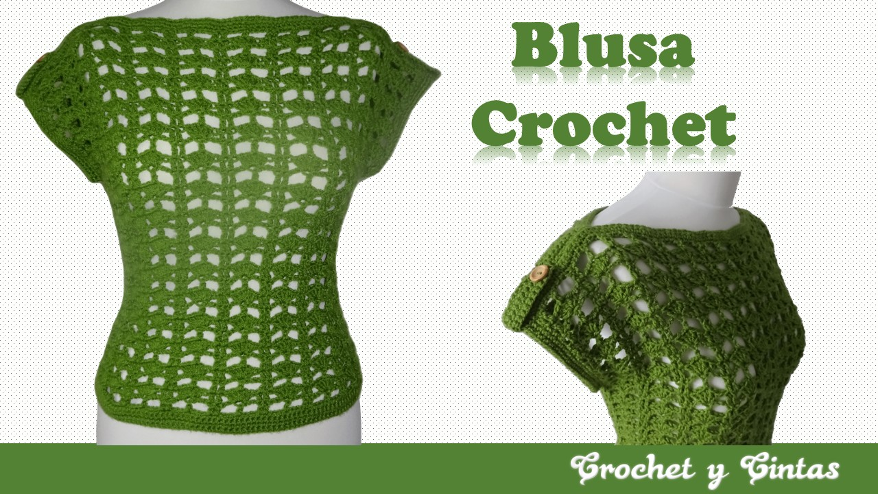 Blusa Calada Con Botones Decorativos Tejida A Crochet Ganchillo