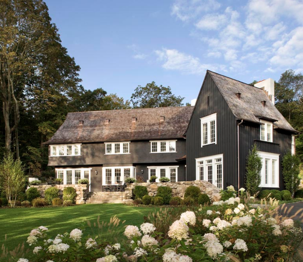 farmhouse black home white trim