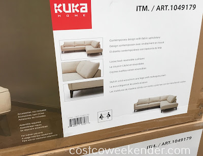 Costco 1049179 - Upgrade your living room with the Kuka Home Fabric Sectional