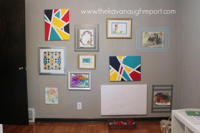 gallery wall, toddler art, homeschool classroom