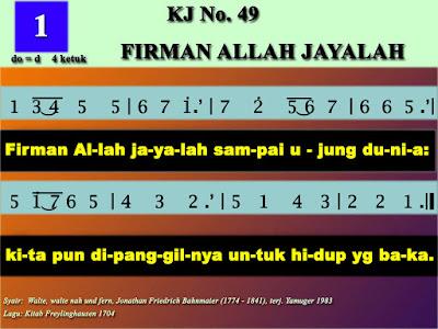 Lirik dan Not Kidung Jemaat 49 Firman Allah Jayalah
