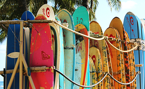 surfboards waikiki beach