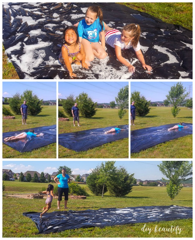 Beat the heat this summer with an affordable and fun DIY slip-n-slide! This project costs less than $30 and you'll be your kid's hero! Find the tutorial at diy beautify!