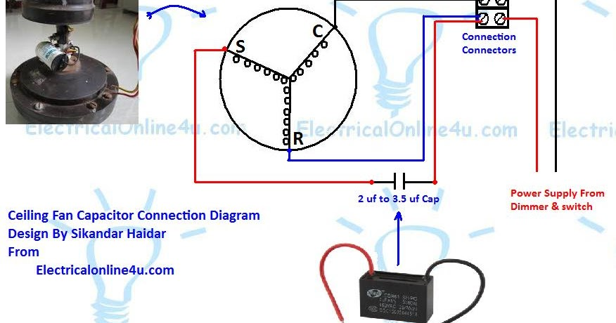 Ceiling fan Capacitor Wiring Connection Diagram ~ Electrical Online 4u  Electrical Tutorials