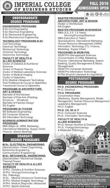 Imperial College Lahore Admissions open