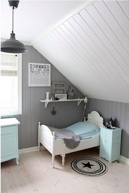 grey and light blue kids room