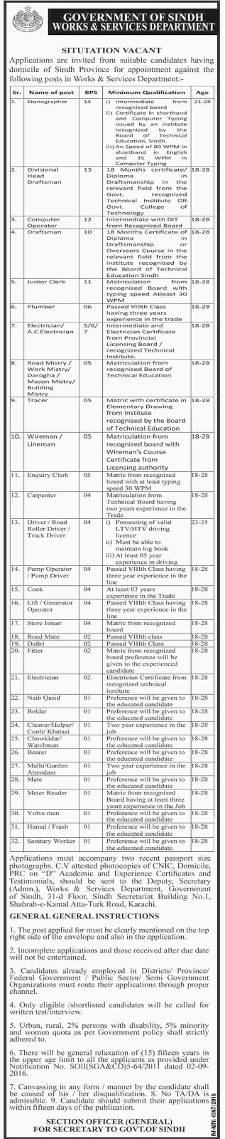 Works and Services Department Sindh Govt Jobs