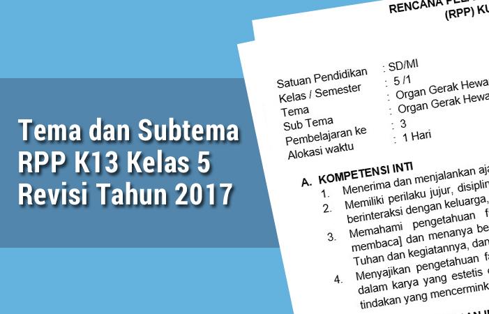 Tema dan Subtema RPP K13 Kelas 5 Revisi Tahun 2017