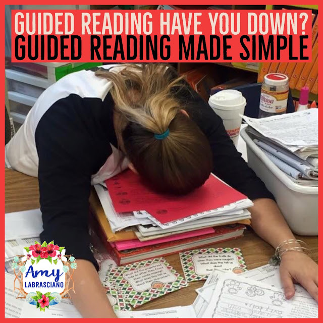 Does guided reading stress you out? Are you having a hard time getting everyone back to your table and teaching tthem meaningful lessons? This post will offer a simple approach to guided reading that helps your to make a plan, organize yourself, and stay relatively stress free. Perfect for first, second and third grade reading teachers. {1st, 2nd, 3rd, grade, elementary school, reading, guided reading}