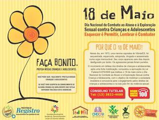Registro-SP terá ações pelo 18 de Maio. Dia Nacional de Combate ao Abuso e Exploração Sexual Infanto juvenil