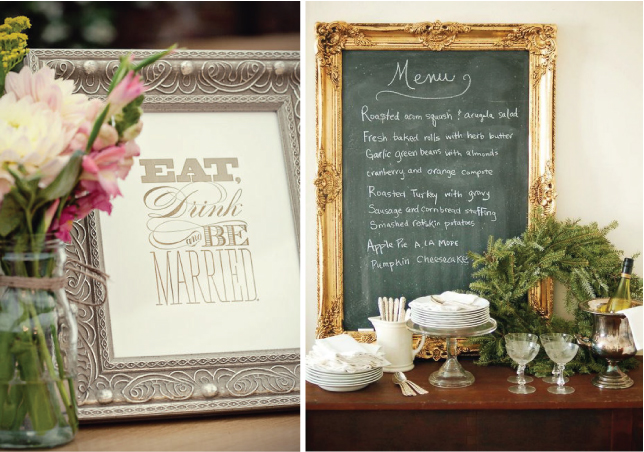 10 creative ways to add frames to your wedding belle the magazine from welcoming messages and menus to labels on your dessert bar framed signs are very practical and make great wedding decorations junglespirit