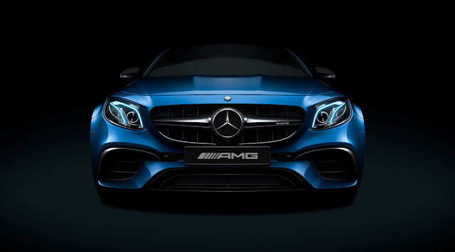 New 2018 Mercedes-AMG E 63 S 4MATIC+ Blue color close up pics