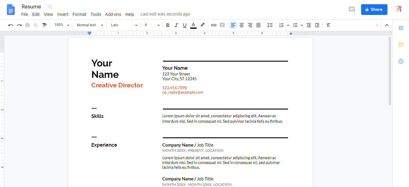 Make Resume using google docs