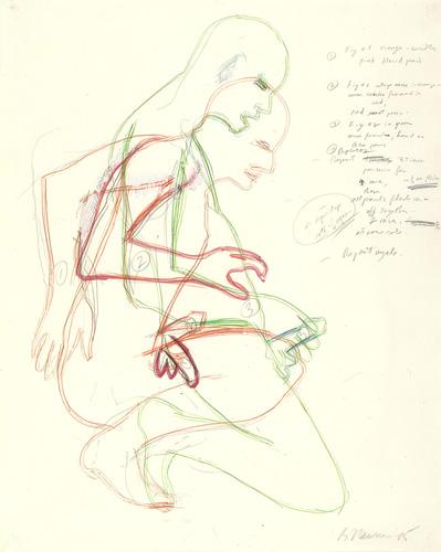 Bruce Nauman Masturbating Man, 1985 graphite, gouache and colored pencil on paper 133.9 x 106.7 cm