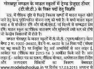 Up Tgt Recruitment 2016 Model School Up Modelschoolup In
