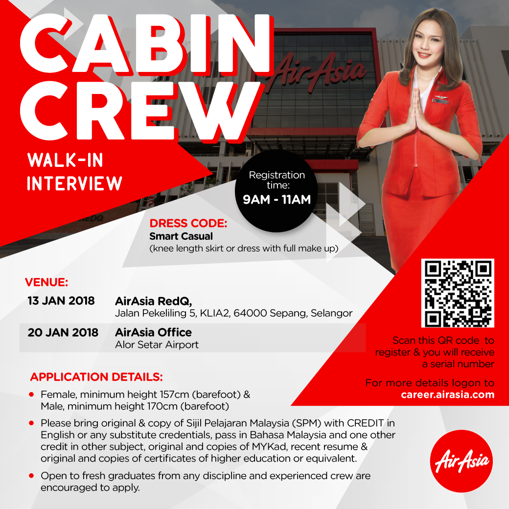 fly gosh: air asia cabin crew recruitment - walk in interview