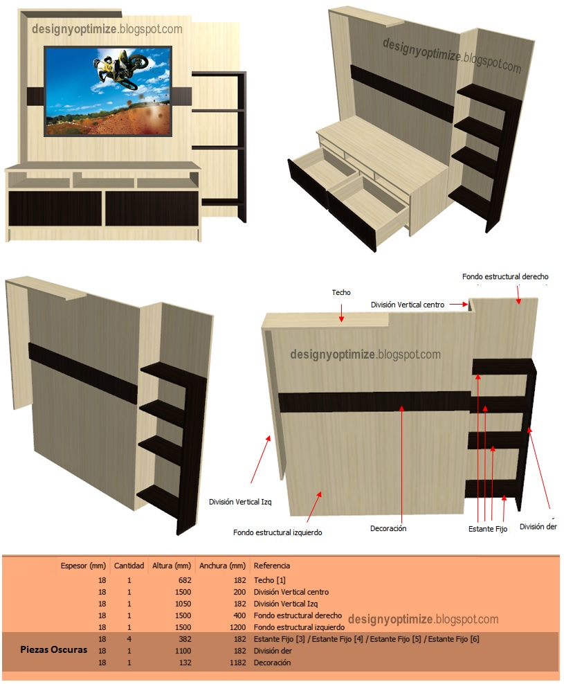 Dise o de muebles madera centro de entretenimiento modelo for Programa diseno muebles