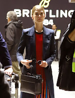 Rosamund Pike at London's Heathrow Airport