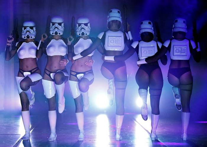 "Dancers dressed as storm troopers in the show ""The Empire Retreats: Burlesque Parody of Star Wars."" Los Angeles, 3 June. Posted by: Mario Anzuoni"