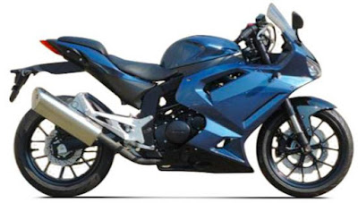Upcoming Hyosung GT300R blue sport bike