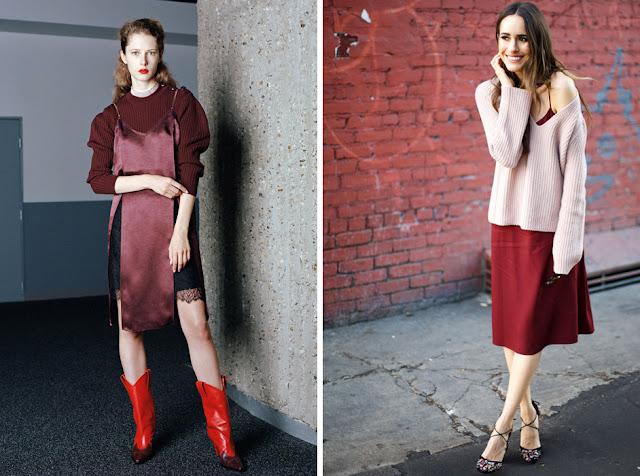 Бордовое платье-комбинация со свитером