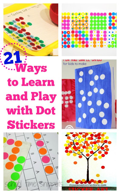 21 Ways to Learn and Play Using Dot Stickers to reinforce fine motor skills