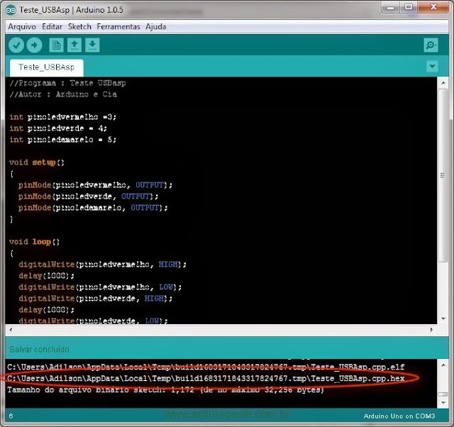 IDE - Compilacao caminho arquivo HEX