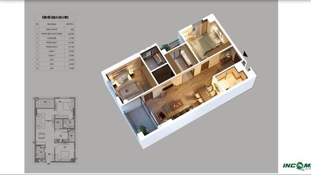 Thiết kế căn hộ loại A chung cư Northern Diamond