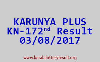 KARUNYA PLUS Lottery KN 172 Results 3-8-2017