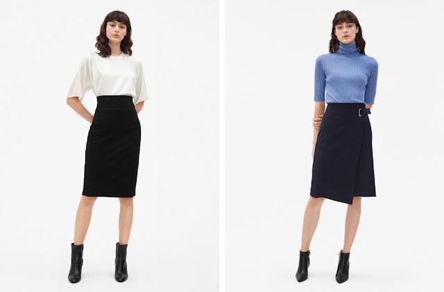 Черная базовая юбка-карандаш и темно-синяя базовая юбка с запахом