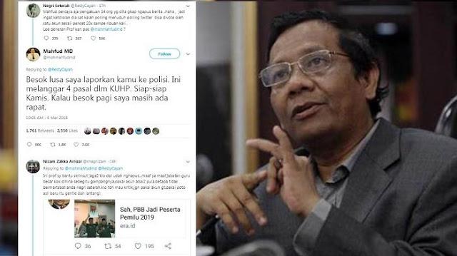 Terima Hujatan Pengguna Twitter Ini, Akhirnya Prof. Mahfud MD Tidak Jadi Laporkan Ke Polisi dengan Alasan....