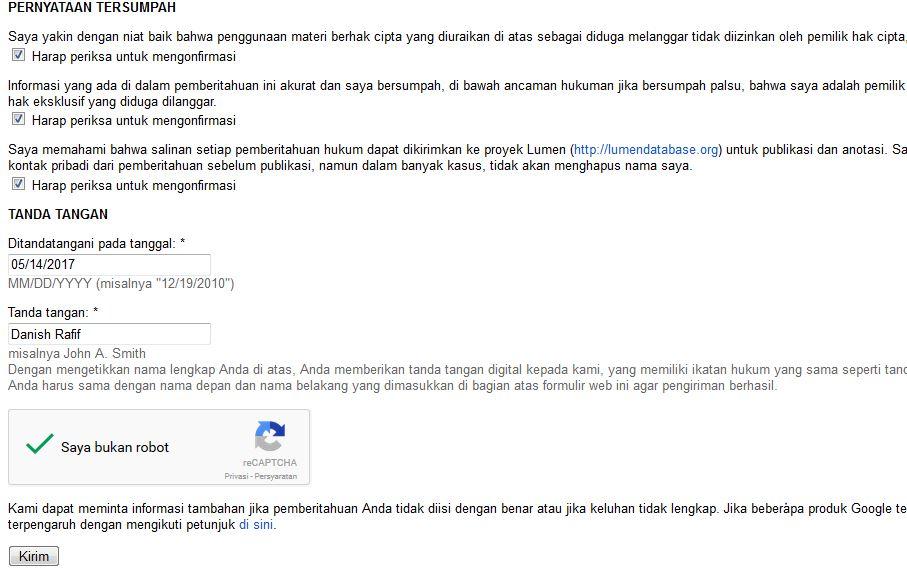 Tampilan Google DCMA 4