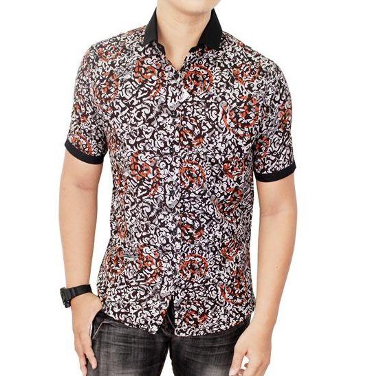Baju Batik Pria Lengan Pendek Modern
