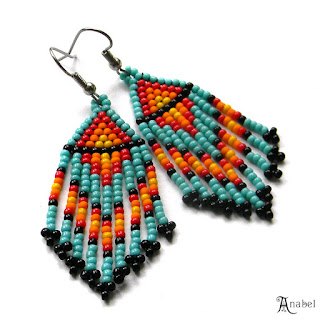 Turquoise Beaded Earrings, Beadwork Jewelry, Seed Bead Earrings, Dangle, Fringe, Colorful, Hippie, Boho, Small Earrings