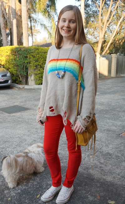 Wildfox Couture rainbow dreamer Lennon distressed knit colourful winter red skinny jeans outfit | Away From Blue