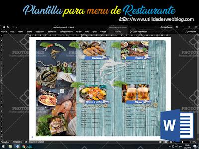 Descargar plantilla Word de menú para restaurantes de mariscos