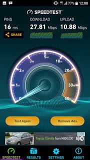 Etisalat 4G LTE speed test