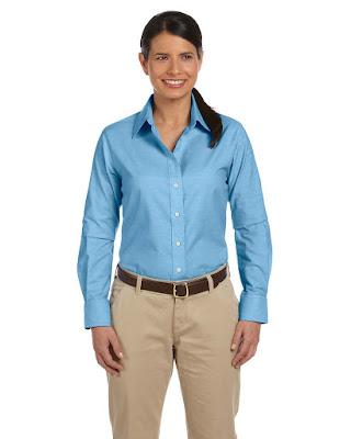 Harriton M600W Ladies Long-Sleeve Oxford Shirt