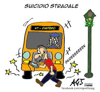 omicidio, stradale, smartphone, social network, incidenti, umorismo, vignetta