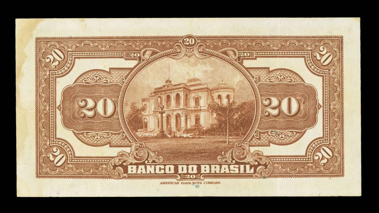 World Paper Money Brazil 20 Mil Reis banknote Monroe Palace