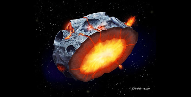 As a metallic asteroid such as Psyche cooled and solidified, iron volcanoes may have erupted onto its surface. (Illustration by Elena Hartley)